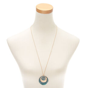 Patina Disk Long Pendant Necklace,
