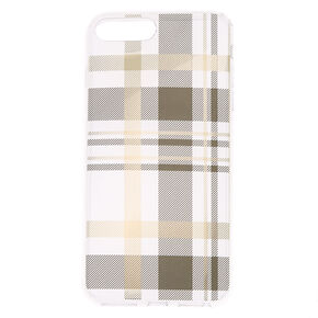 Black & Gold Plaid Phone Case - Fits iPhone 6/7/8 Plus,
