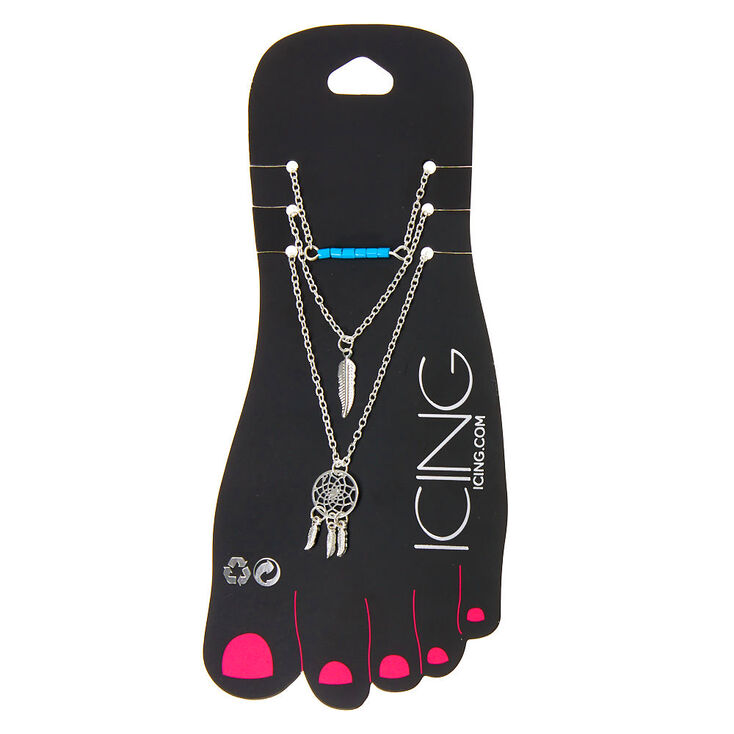 Silver Boho Dreamcatcher Chain Anklets - Blue, 3 Pack,