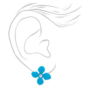 Silver Flower Stud Earrings - Turquoise,