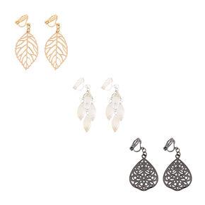 Filigree Leaves Clip On Drop Earrings Set,