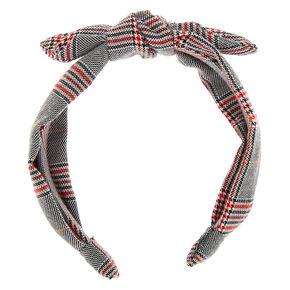 Menswear Plaid Bow Headband - Black,