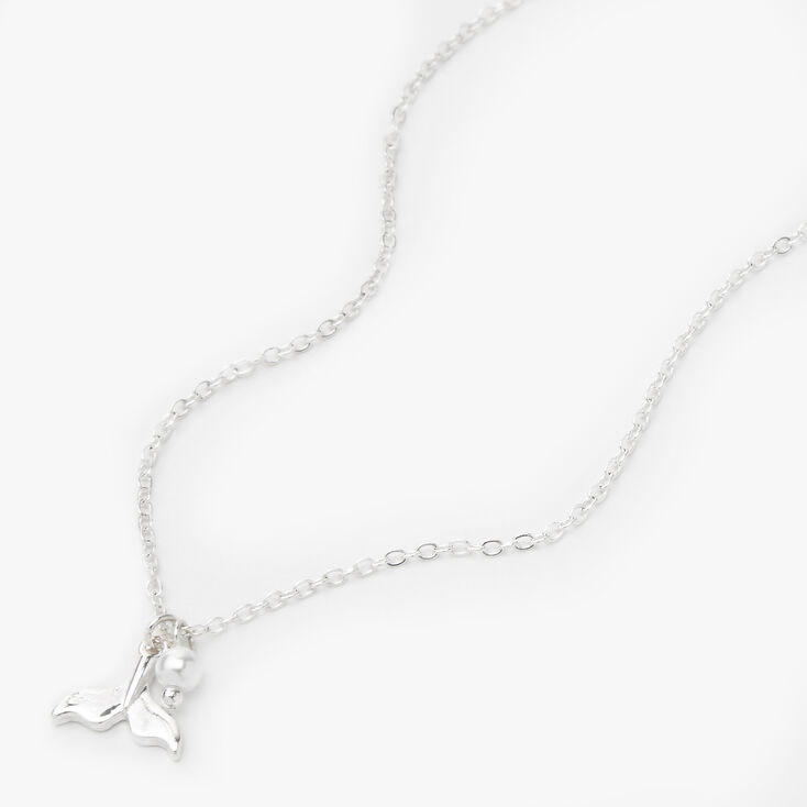 Silver Whale Tail Pendant Necklace,