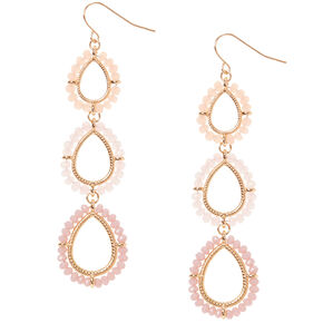 "Gold 2.5"" Beaded Drop Earrings,"