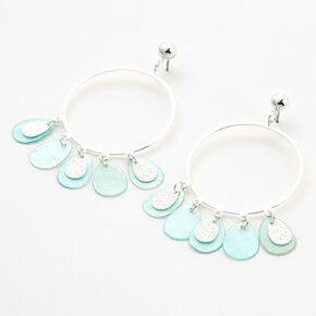 "Silver 2"" Circle Gypsy Seashell Drop Earrings - Mint,"