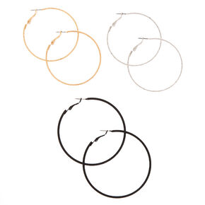 Mixed Metal Graduated Textured Hoop Earrings - 3 Pack,