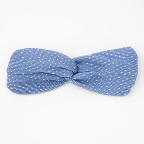 Polka Dot Pleated Knotted Headwrap - Blue,