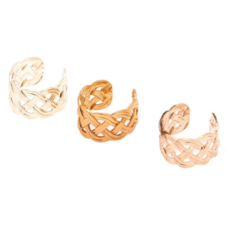 Mixed Metal Braided Ear Cuffs - 3 Pack,