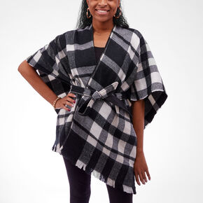 Black and White Plaid Fringed Poncho,