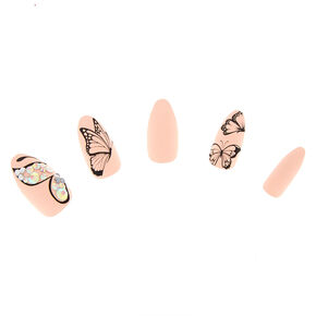 Butterfly Gem Faux Nail Set - Nude, 24 Pack,
