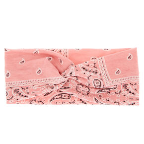 Wide Jersey Bandana Headwrap - Rose Pink,
