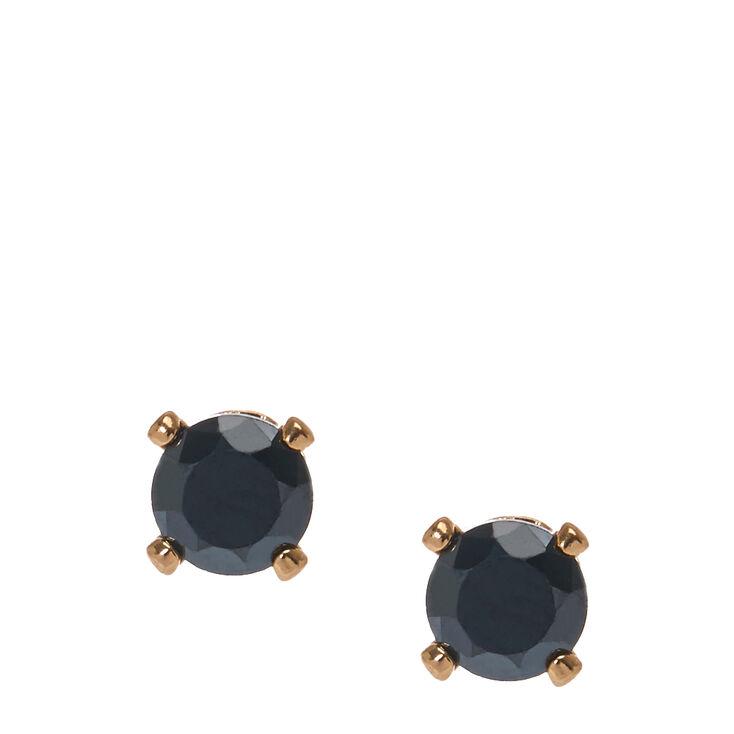 4mm Jet Black Round Cubic Zirconia Stud Earrings,