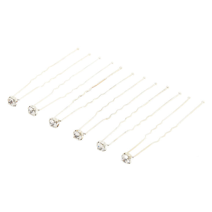 Silver Rhinestone Hair Pins - 6 Pack,