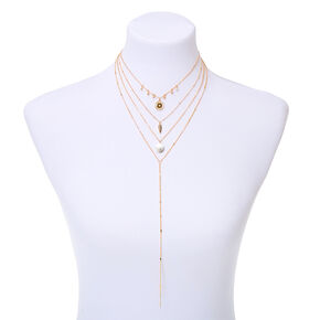 Gold North Star Multi Strand Choker Necklace,