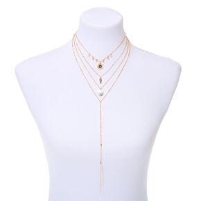 Gold North Star Multi Strand Choker Necklace,