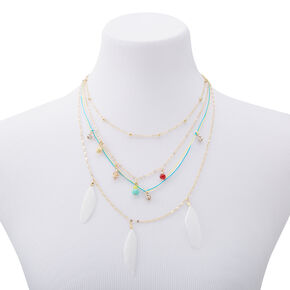 Gold Feather Seashell Mixed Multi Strand Necklace,