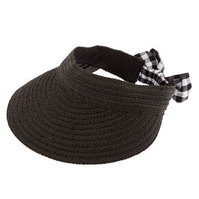 Gingham Bow Straw Visor - Black,