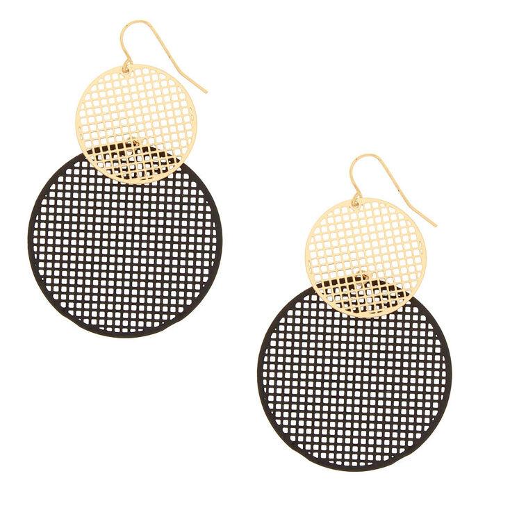 Gold-Tone & Black Mesh Circle Drop Earrings,