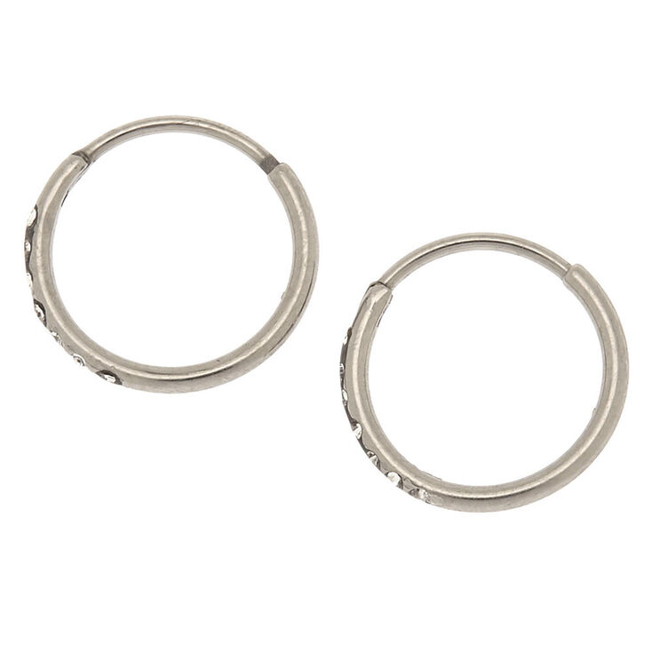 Silver Titanium 10MM Sleek Crystal Hoop Earrings,