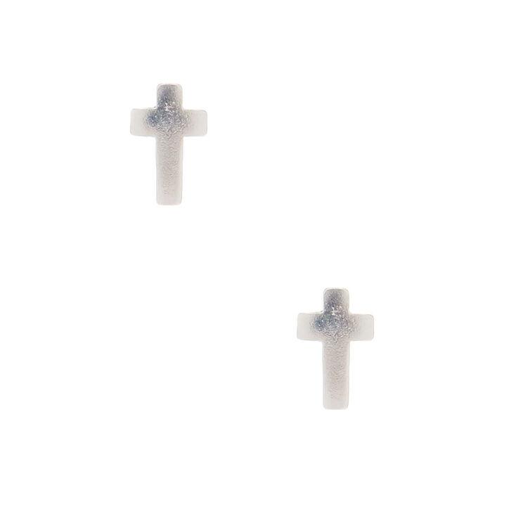 Sterling Silver Mini Cross Stud Earrings,