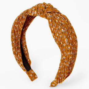 Floral Pleated Knot Headband - Brown,