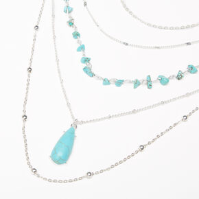 Silver Turquoise Puka Shell Multi Strand Necklace,