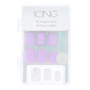 Marble Square Faux Nail Set - Lilac, 24 Pack,