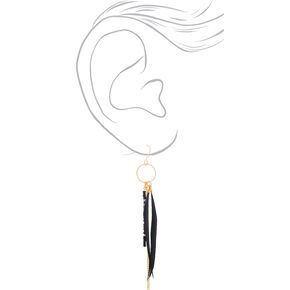 "Gold 4"" Skinny Beaded Feather Drop Earrings - Black,"