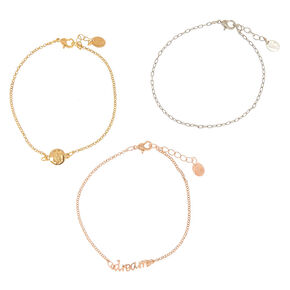Mixed Metal Dream Anklet - 3 Pack,
