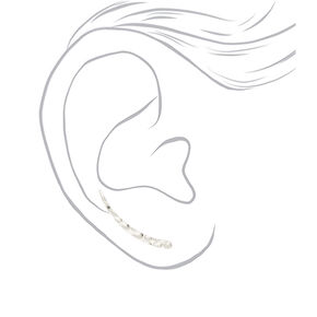 "Silver 1"" Textured Ear Crawler Earrings,"