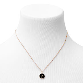 Gold Enamel Initial Pendant Necklace - Black, A,