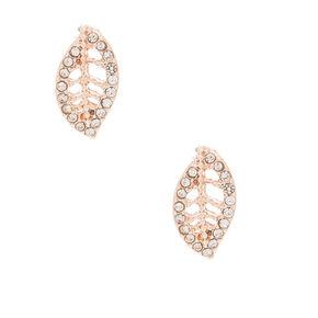 Rose Gold Crystal Leaf Stud Earrings,