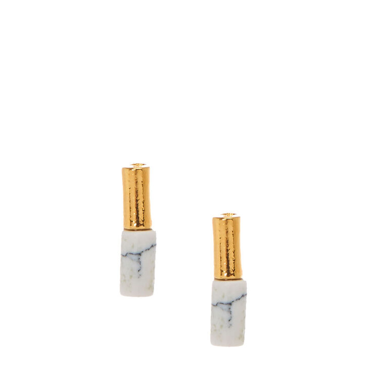 Gold Plated Marble Cubic Zirconia Earrings,