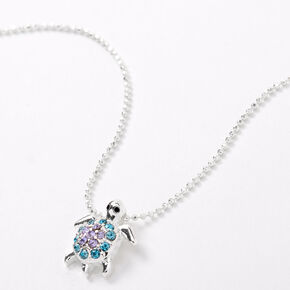 Silver Blue & Purple Embellished Turtle Pendant Necklace,