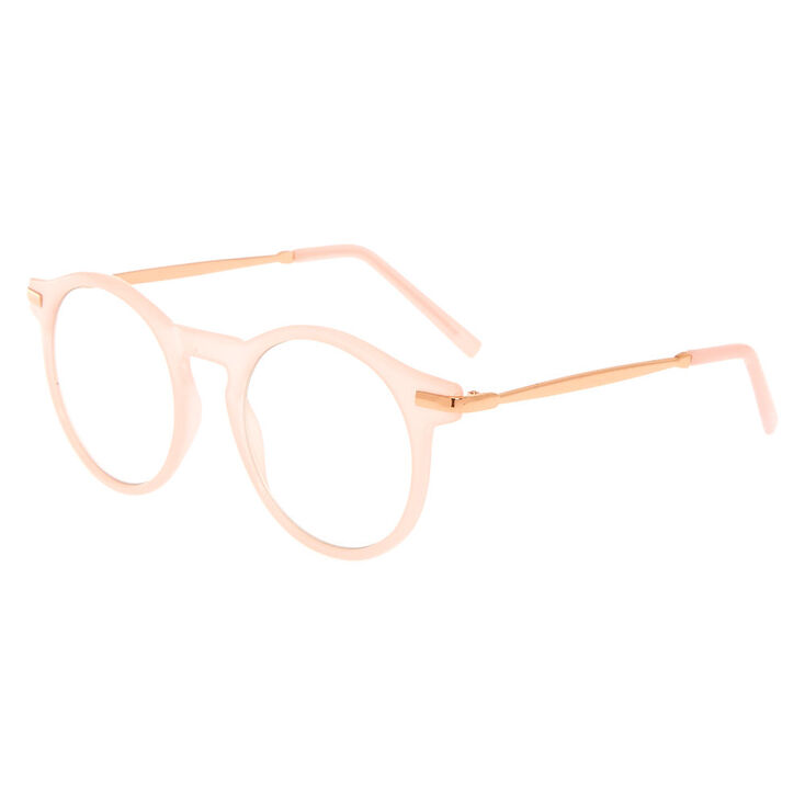 Rose Gold Round Clear Lens Frames - Nude,