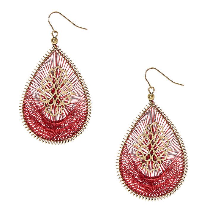 Burgundy Threaded Gold Tone Open Teardrop Drop Earrings,