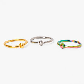 Mixed Metal Anodized 20G Ball Hoop Nose Rings - 3 Pack,