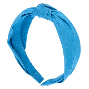 Denim Knotted Headband - Blue,