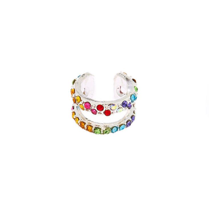 Silver Rainbow Crystal Two Row Ear Cuff,