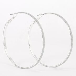 Silver 60MM Glitter Thin Hoop Earrings,