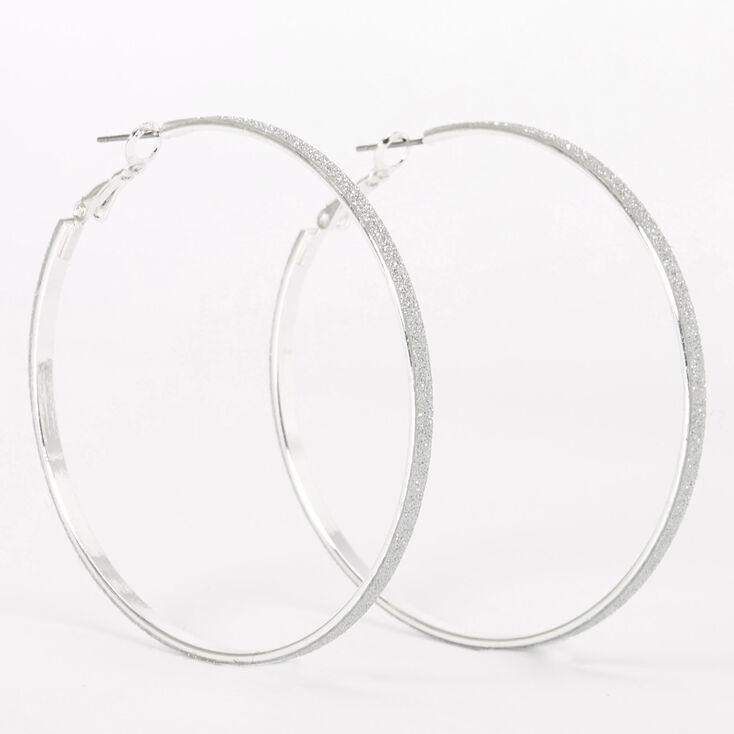 Silver 60MM Glitter Thin Hoop Earrings,