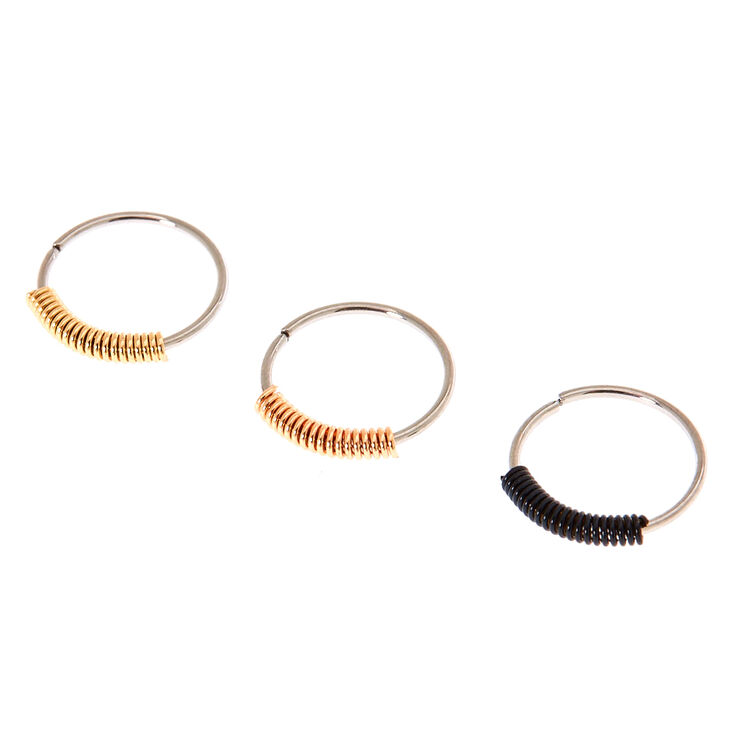 3 Pack Mixed Metal Wrapped Nose Rings,