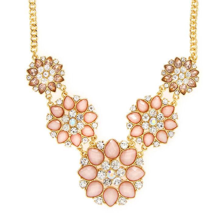 Juliet Pink Glitter Stone & Crystal Flowers Statement Necklace,