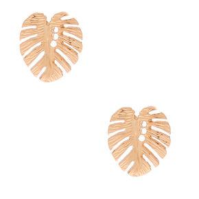 Gold Palm Leaf Stud Earrings,