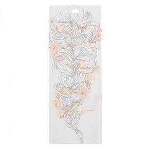 Long Rose Gold-Tone Pink Flower Hair Vine,