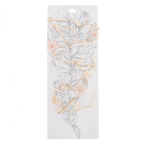 Long Rose Gold-Tone Pink Flower Hair Vine,