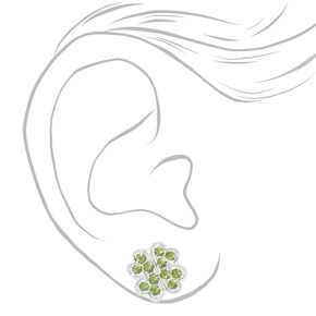 Faux Gemstone Shamrock Stud Earrings - Green,