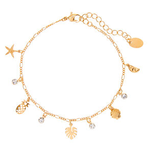 Gold Summer Charm Chain Anklet,