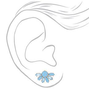 Gold Crystal Fan Stud Earrings - Blue,
