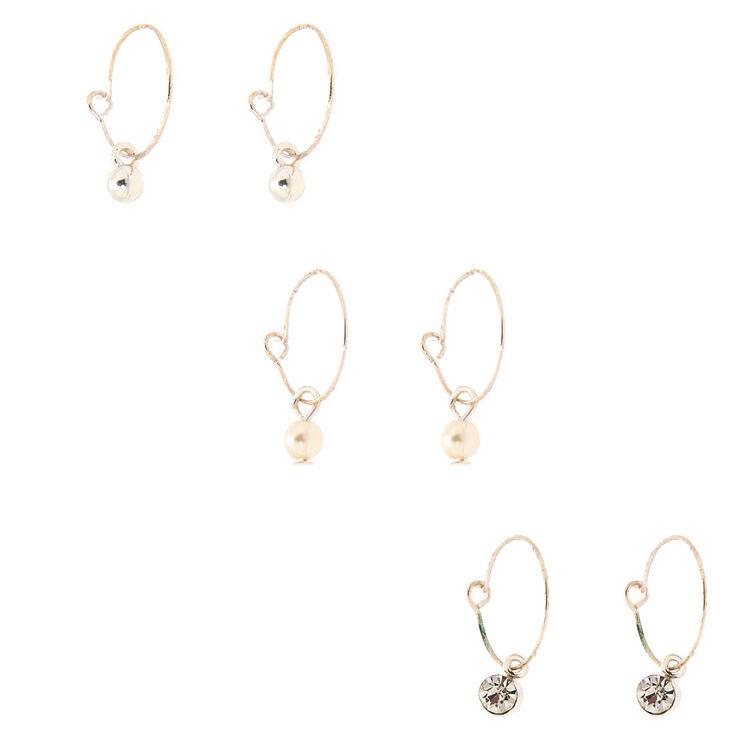 Silver Crystal Pearl Stud & Hoop Earrings - 6 Pack,